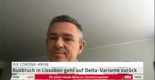 Dr. Franzreb als deutscher Arzt in Lissabon zur COVID Pandemiesituation in Lissabon im deutschen Fernsehen interviewt